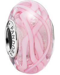PANDORA - Pink Ribbon Of Hope Silver Murano Glass Charm - Lyst