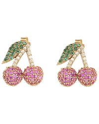 Gabi Rielle Cherry Bling Cz Earrings - Multicolour
