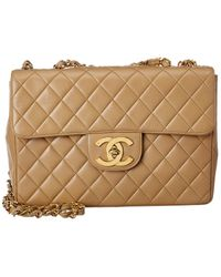 Chanel Beige Quilted Lambskin Leather Jumbo Half Flap Bag - Natural