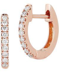 Nephora 14k Rose Gold Diamond Huggie Earrings - Pink