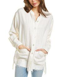 Fifteen Twenty Raw Hem Linen Shirt Jacket - White