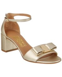 Ferragamo - Gavina Vara Bow Ankle Strap Leather Sandal - Lyst