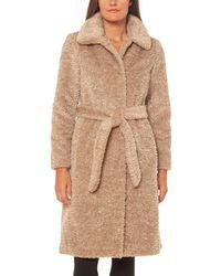 Vince Camuto Faux Fur Teddy Wrap Coat - Natural