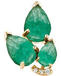 Paige Novick - 18k Diamond & Emerald Single Earring - Lyst