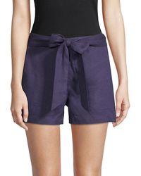 Saks Fifth Avenue Black Tie-waist Linen Shorts - Blue