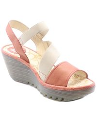 Fly London Yesa Leather Wedge Sandal - Pink