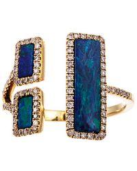Meira T 14k Gold 1.65 Ct. Tw. Diamond & Opal Ring - Blue