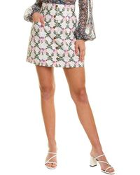 The East Order Checkered Floral Mini Skirt - White