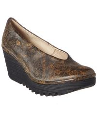 Fly London Yaz Leather Wedge - Brown