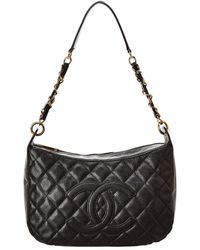 a2e73fca57a0 Chanel - Black Quilted Caviar Leather Timeless Cc Shoulder Bag - Lyst