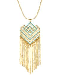 Noir Jewelry - Geometric Resin Fringe Necklace - Lyst