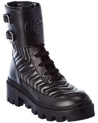 Gucci Interlocking G Leather Boot - Black