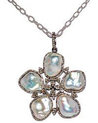 Arthur Marder Fine Jewelry Silver 2.00 Ct. Tw. Diamond & 14mm Pearl 30in Necklace - Metallic