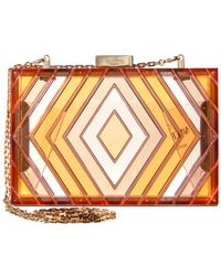 Valentino Native Couture Acrylic Box Clutch - Red