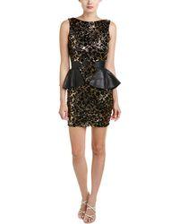 Dress the Population - Elyssa Leather-trim Sheath Dress - Lyst