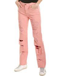 Alice + Olivia Genevive Extreme Distress Gf Jeans - Pink