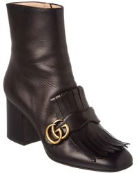 Gucci GG Fringe Leather Bootie - Black
