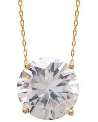 Gabi Rielle 14k Over Silver Cz Solitaire Pendant Necklace - Metallic