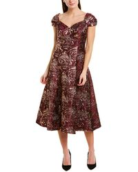 Teri Jon By Rickie Freeman Silk-blend A-line Dress - Red