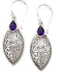 Samuel B. Silver 0.70 Ct. Tw. Amethyst Earrings - Metallic