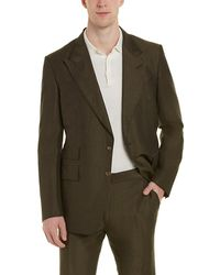 Tom Ford Shelton 2pc Linen & Silk-blend Suit With Flat Pant - Green