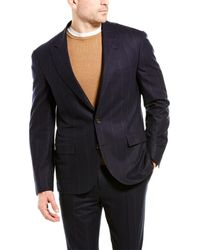 Brunello Cucinelli 2pc Wool-blend Suit With Flat Pant - Blue