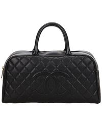 Chanel - Black Matelassé Quilted Caviar Leather Handbag - Lyst