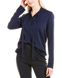 The Row Tipet Silk Top - Blue