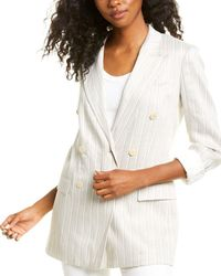 Theory Double-breasted Tailor Linen-blend Blazer - Grey