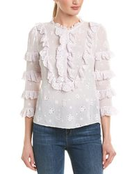 Rebecca Taylor Dree Embroidery Silk-blend Top - White