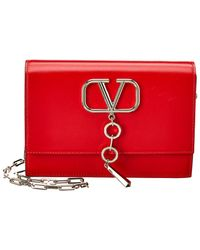 Valentino V-case Small Leather Clutch - Red