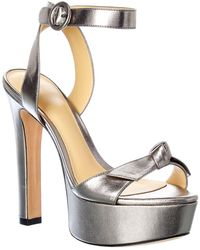 Alexandre Birman Clarita Leather Platform Sandal - Metallic