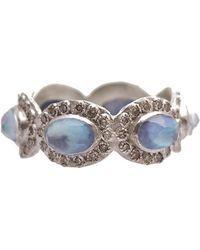 Armenta - New World Silver 4.84 Ct. Tw. Champagne Diamond & Blue Sapphire Ring - Lyst