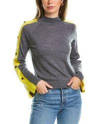 Minnie Rose Snap Sleeve Wool Jumper - Grey