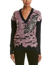 Emilio Pucci Pailette Sequin Embroidered Wool, Cashmere, & Silk Blend Sweater - Multicolor
