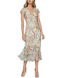 Reiss Lilly Floral Slim Midi Dress - Pink