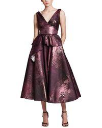 Marchesa notte Metallic Jacquard Gown - Purple