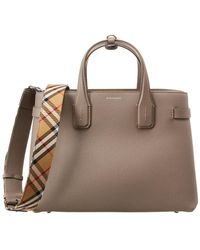 776972d0da44 Burberry - Medium Banner Vintage Check   Leather Tote - Lyst