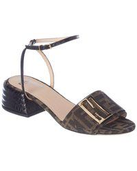 Fendi Ff Motif Canvas & Croc-embossed Sandal - Brown