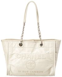 Chanel - White Leather Large Deauville Tote - Lyst