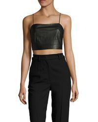 Kendall + Kylie Kendall + Kylie Leather Crop Top - Black