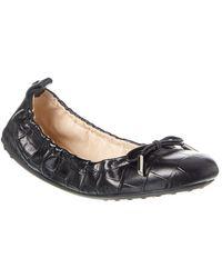 Tod's Tod?s Gommino Leather Ballerina Flat - Black