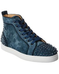 Christian Louboutin Lou Spikes 2 Suede Sneaker - Blue