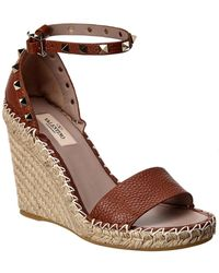 Valentino Rockstud Ankle Strap Leather Wedge Sandal - Brown