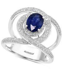 Effy 14k 2.01 Ct. Tw. Diamond & Sapphire Half-eternity Ring - Multicolour
