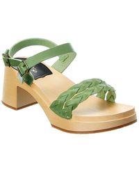 Swedish Hasbeens Tanja Leather Sandal - Green