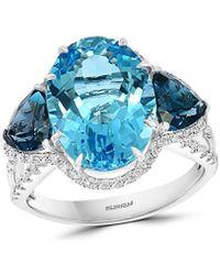 Effy 14k 9.58 Ct. Tw. Diamond & Blue Topaz Ring