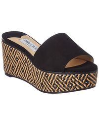Jimmy Choo - Deedee 80 Natural And Black Suede Wedges With Woven Braided Raffia Natural/black 34 - Lyst