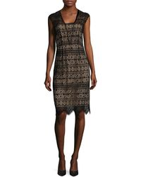 Shoshanna Lace Knee Length Dress - Black