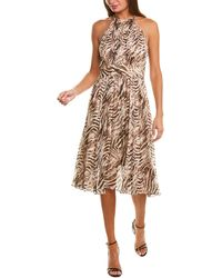 Elie Tahari Dominica Silk-blend A-line Dress - Brown